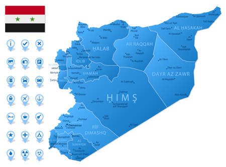 Blue map of Syria administrative divisions with travel infographic icons. Vector illustration Ilustración de vector