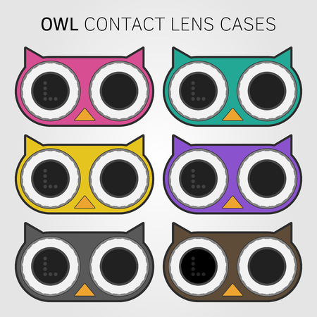 contact lens: Contact lens containers in form of owl available in different colors