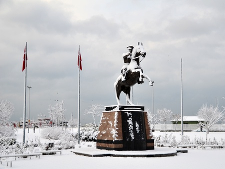 Statue of Turkish Republic s founder was covered by snow  Stock Photo - 12603461