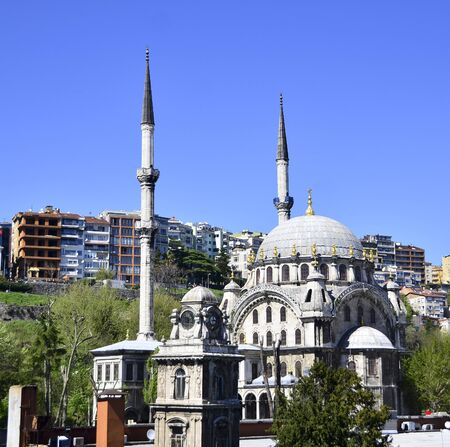 View of old mosque from Istanbul Stock Photo