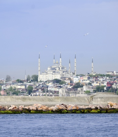 Blue Mosque, is symbol of Istanbul, was shot from boat which was on the sea  Stock Photo