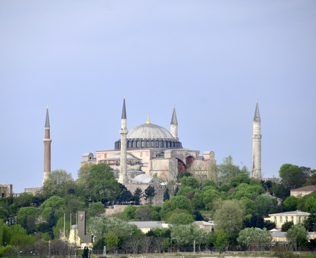 Hagia Sophia, is one of symbols of Istanbul, shot from boat which was on the sea