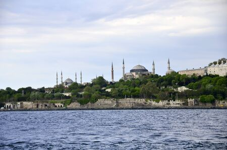 Blue Mosque and Hagia Sophia , are symbols of Istanbul, was shot from boat which was on the sea