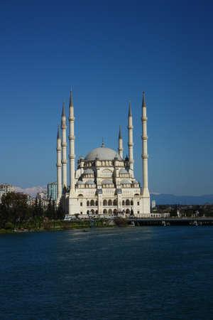 Six minarets of mosque in Adana, with viewof river  Banco de Imagens