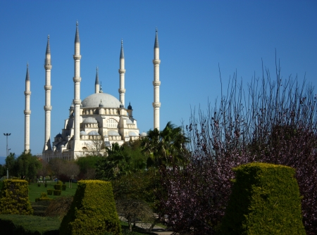 Six minarets of mosque in Adana, Turkey  Stock Photo