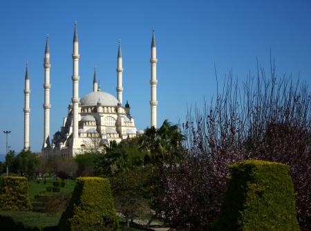 Six minarets of mosque in Adana, Turkey  Stock Photo