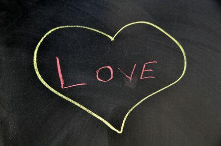 Love text written on blackboard in heart shape