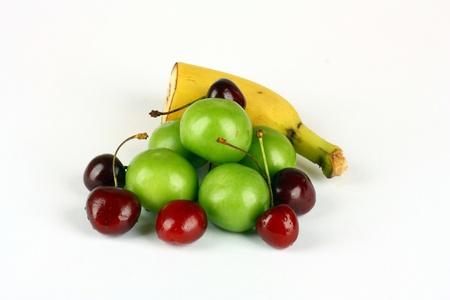 Fresh fruits shot on white background  Stock Photo