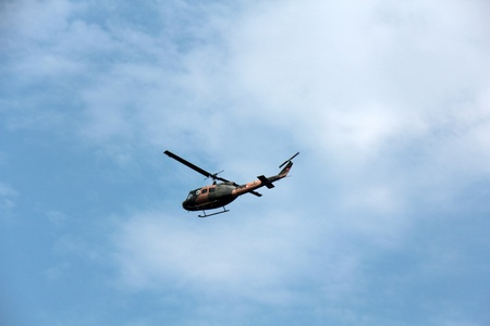 Helicopter of Turkish army searches to see what is going on on the ground