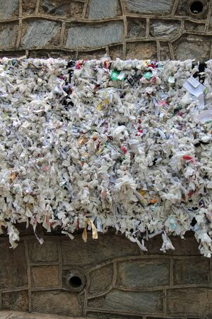 Wall was covered with by notes of people who visited the holy place