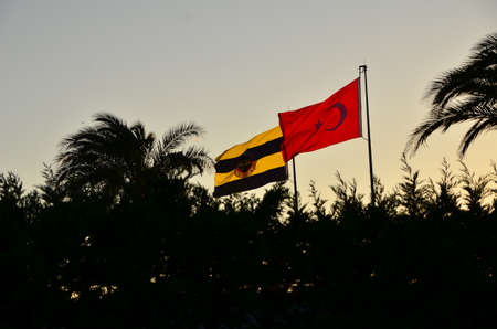 Istanbul, Turkey -  August 28, 2012  Flags of Turkey and Turkish football clun Fenerbahce s flag waving on pole during sunset
