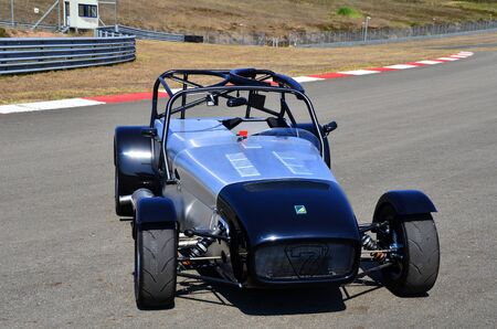 Istanbul, Turkey- July 30, 2015: Very fast metallic colored race car is on tracks short-cut area on July 30, 2015 in Istanbul, Turkey speedway. This is handmade rare car designed for track race.
