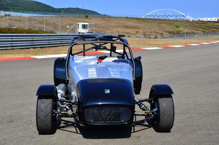 roll bar: Istanbul, Turkey- July 30, 2015: Very fast metallic colored race car is on tracks short-cut area on July 30, 2015 in Istanbul, Turkey speedway. This is handmade rare car designed for track race.