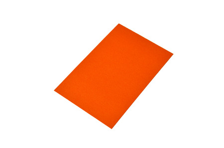 Orange colored note paper is on white.
