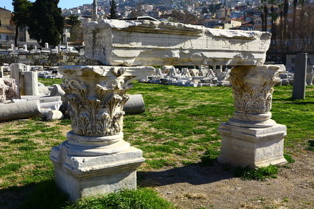 Ancient column has located in Izmir Agora, Turkey. Izmir also called as Smyrna.