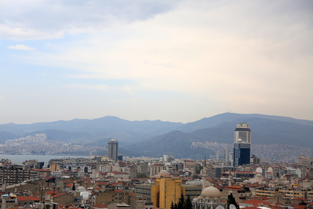 Konak, Izmir, Turkey – March 31, 2017: Smyrna, now called as Izmir with its buildings, bay, hills. West coast city of Turkey which part is developed. Photo show a brief summary of the city.