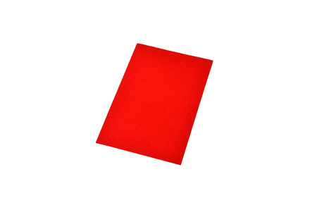 Red colored note paper shot on white background. Stock Photo