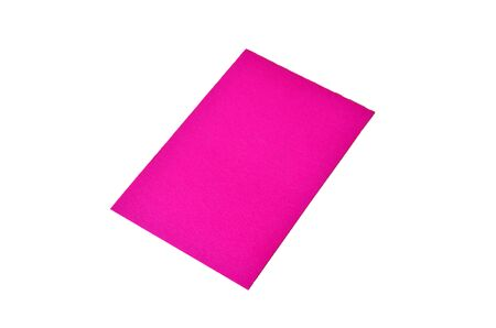 Lilac colored note paper shot on white background.