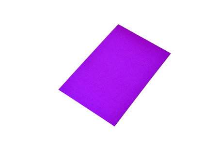 Purple colored note paper shot on white background.