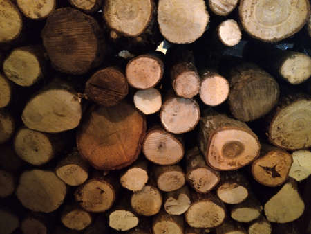 Firewood stack for burning at cold. Stock Photo