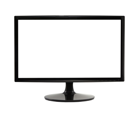plasma screen: frontal view of widescreen lcd monitor isolated on white Stock Photo