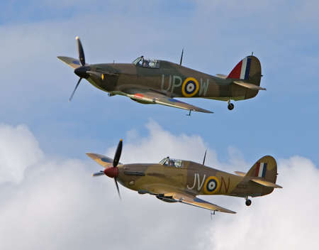 two Hawker Huriicanes in a rare formation Stock Photo