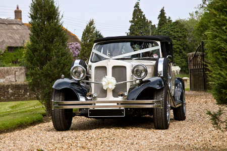luxury cars: Vintage wedding car in white
