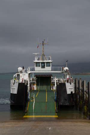 slipway: Empty ferry boat on slipway prior to loading