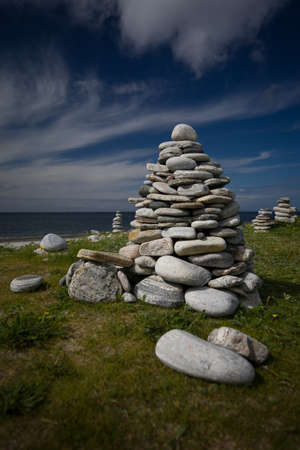 Small stone Cairns on the beach at  Rubh' Aird-Mhicheil Stock Photo - 16403083