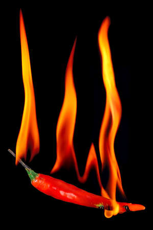 Red pepper on fire