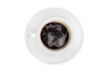 Top view of a white cup of coffee, isolated on a white background   photo