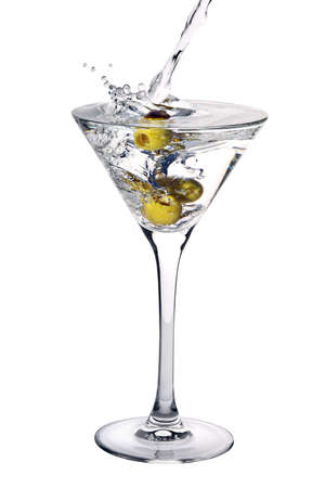 Cocktail with olives and splash