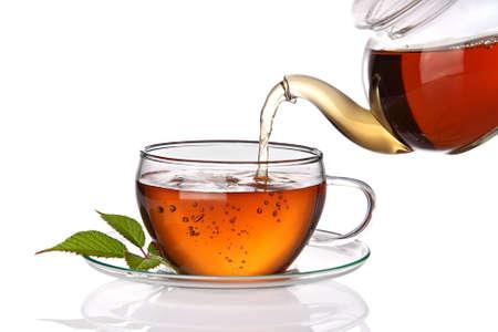 Tea poured into glass tea cup