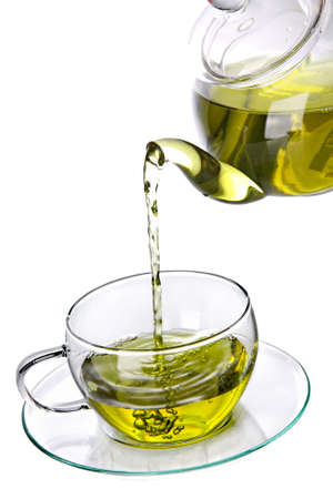 Cup of green herbal tea Stock Photo - 8700673