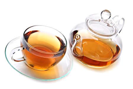 Cup of tea with teapot. Tea with teapot Standard-Bild