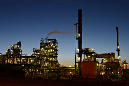 oil refinery: Oil refinery by night