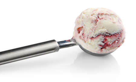 ice cream scoop: Ice cream in stainless steal ice cream scoop Stock Photo