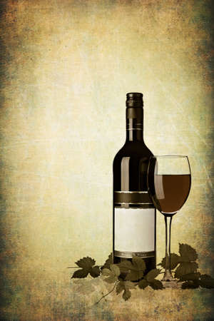 no label: Bottle of red wine with glass on grunge textured background Stock Photo