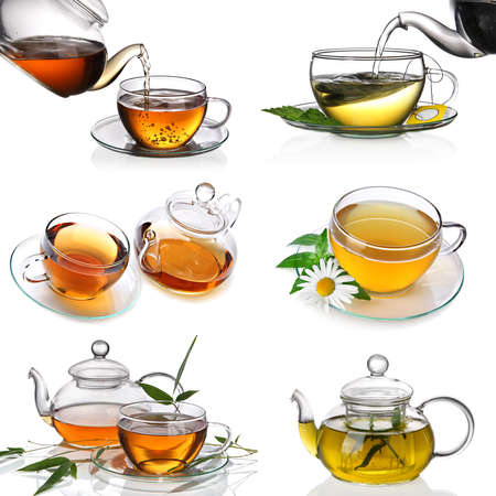 chamomilla: Tea collage Stock Photo