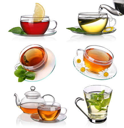 cup tea: Tea collage Stock Photo