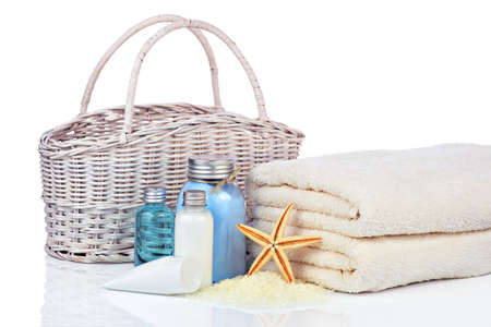 merchandise: Skin care cosmetics and towels and bag Stock Photo