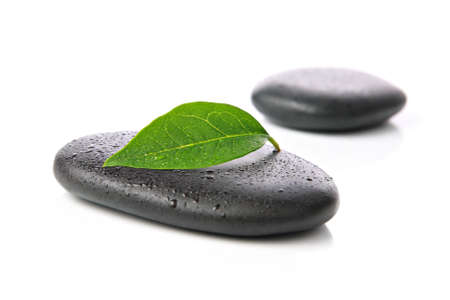 labourer: Zen basalt stones with leaf Stock Photo