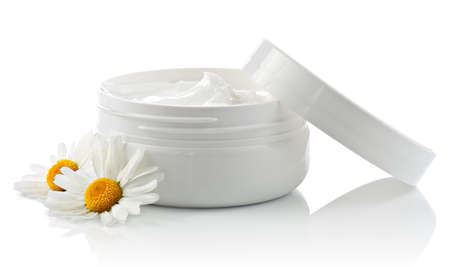 moisten: Cosmetic face cream container with chamomile