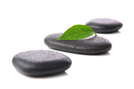 Zen basalt hot stones with leaf