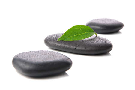Zen basalt hot stones with leaf