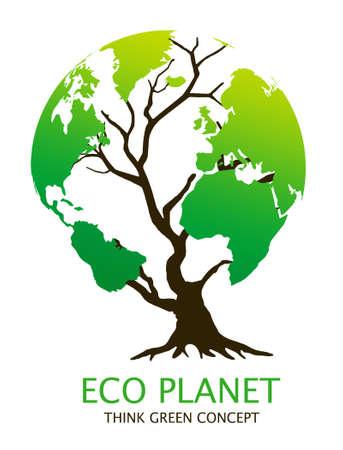 """Eco-friendly """", árbol de la tierra"""", la ilustración. Concepto de medio ambiente verde"""