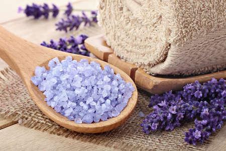Lavender sea salt, natural spa arrangement photo