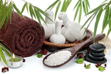 spa therapy: Spa massage setting with bamboo Stock Photo