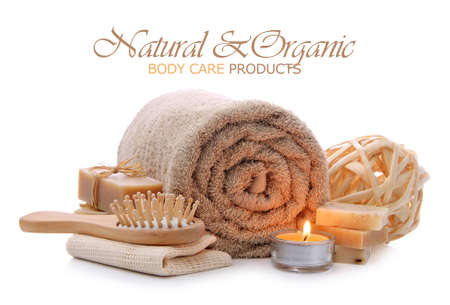 Organic bath, spa, sauna and body care toiletries Stock Photo - 12550403