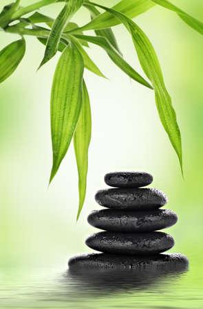 Zen basalt stones and bamboo design